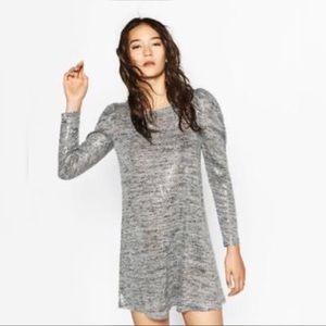 Zara Shimmer Knit Heather Grey Sequin Dress
